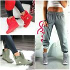 LADIES HI TOP WEDGE TRAINERS SNEAKERS STRAPS ANKLE BOOTS PADDED COMFORT SIZE