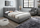 New 4'6 Double / 5'0 Kingsize Fabric Light Grey Bed - Button Headboard