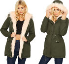 Womens Faux Fur Lined Hood Fishtail Parka Ladies Zip Pocket Vintage Jacket Coat