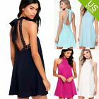 Lady Summer Casual Sleeveless Lace Cuffs Evening Party Cocktail Short Mini Dress