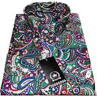 Relco Men's Green Paisley Long Sleeved 100% Cotton Button Down Collar Shirt