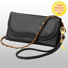 For Mobile Phone Luxury Black Leather Cash Card Holder Handbag Case Cover Pouch