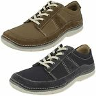 Mens Clarks Olive/Navy Lace Up Light Weight Canvas Shoes Ripton Plain