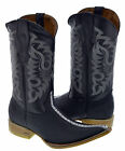 Men's Stingray Design Western Leather Cowboy Boots Rodeo Pointed Toe