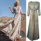 S-3XL Women's Vintage Boho Long Maxi Evening Party Dress Summer Beach Dress US
