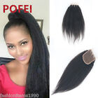 "4""x4""Lace Closure Kinky Straight 100%8A Brazilian Human Hair Free/Middle/3Part"