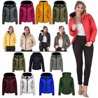 New Womens Padded Puffer Bubble Fur Collar Quilted Full Sleeve Jacket Size 8 16