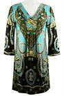Adore Fashion Floral Medallion 3/4 Flared Sleeve Tunic Mini Dress V-Neck Collar