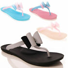 LADIES WOMENS SUMMER BOW FLIP FLOP SANDAL BEACH CASUAL STYLE FASHION SHOES SIZE