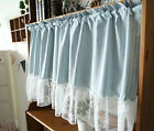 blue cotton stripe rose lace stitching Home Kitchen door Sheer Cafe Curtain