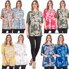 New Womens Sunflower Print Front Pocket Unique Casual Top Plus Size 10 16 20