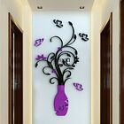 DIY 3D Flower Vase Art Home Room Office Decoration Mirror Wall Stickers TXSU