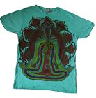 Mens Mirror T Shirt Chakra Meditate Boho Colourful Trippy Hippy Rare Cotton L