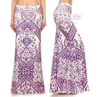 Boho Purple high waist fold over maxi long skirt (S/M/L/XL)