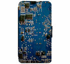 Electrical Circuit Board Art Leather Flip Phone Case Cover  D7
