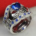 Irish Claddagh Heart Blue Sapphire 925 Silver Bridal Engagement Three Ring Set