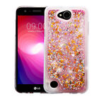 for LG X Power 2 - GOLD Stars & Pink Quicksand Glitter COVER CASE + GLASS SCREEN