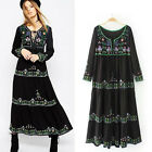 2017 Women Vintage Ethnic Embroidery Floral Boho Hippie Beach Holiday Maxi Dress