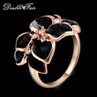 Elegant black Rose Leaf Drop Oil ring party Fashion jewelry White Gold for women