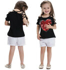 Kid's Girl's Black T-shirt Cotton Top Red Heart Sequin Tank Tee spagetti straps