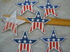 6 USA Star Patches Flag pattern stripes Iron on embellish jean jacket shirt vest