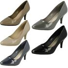 Ladies Spot On Formal Slip On Patent Court Shoes