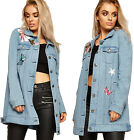 Womens Oversized Denim Jacket Top Ladies Button Floral Butterfly Long Sleeve