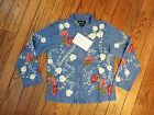 New!  Denim & Co. Blue Denim Embroidered Jacket   Size XS
