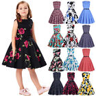 Children Girls Vintage Floral Evening Party Homecoming Swing Tea Dress 6-12Yrs