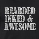 BEARDED INKED AWESOME funny tattoo tats hipster dad Father's Day gift T-Shirt
