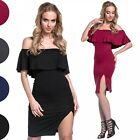 Glamour Empire. Women's Elastic Bodycon Tight Slit Bardot Neck Mini Dress. 629