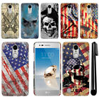 For LG Aristo MS210 LV3 K8 M150 Fortune Flag Skull HARD Back Case Cover + Pen