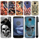 For Motorola Moto Z Force Droid Edition Flag Skull HARD Back Case Cover + Pen