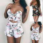 2pcs Summer Womens Floral Print Lace Up Holiday Cropped Top High Waist Shorts