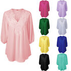 Plus Size Women Blouse Chiffon 3/4 Sleeve Ladies Shirt V Neck Loose Casual Tops