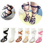Baby Kids Girl Cross-tied Sandals Bandage Soft Crib Sole Leather Gladiator Shoes