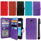 For ZTE N817 Quest Uhura Flip Card Holder Cash Slots Wallet Cover Case + Pen