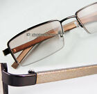 Men Reading glasses Metal Brown fade sunglasses reader half-rimless 50-19-140