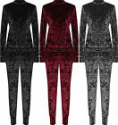 Womens Plus Velour Loungewear Set Ladies Long Sleeve Top Leggings Co-Ord Suit