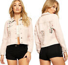 Womens Distressed Cropped Denim Jacket Ladies Long Sleeve Floral Print Button