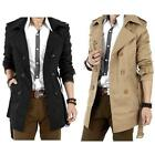 Men's Summer Sale Double Breasted Slim Lapel Trench Coat Long Jackets Overcoat