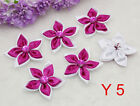 5-100PCS DIY Satin Ribbon Flower with Crystal Appliques Bows Craft Supplies gift