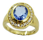 Blue shappire CZ Gold Plated Ring bonny Blue Designer AU K,M,O,Q