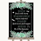 Black Mint Green & Silver In Loving Memory Personalised Wedding Sign