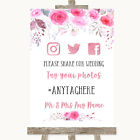 Pink Watercolour Floral Social Media Hashtag Photos Personalised Wedding Sign