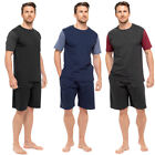 Mens Raiken Contrast Sleeve Pyjama Shorts & T-Shirt Set Lounge Night Wear Suit S