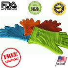 BBQ Gloves - Heat Resistant Kitchen Cooking Oven Mitt Silicone Potholder (USA)