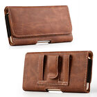 For Mobile Phones PU Leather Cover Wallet Pouch Waist Belt Clip Loop Case BROWN