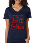 HOME of the FREE BECAUSE of the BRAVE 4th of July USA Women's V-neck T-Shirt