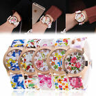 Fashion Women Girl Watch Silicone Printed Flower Causal Quartz WristWatches image